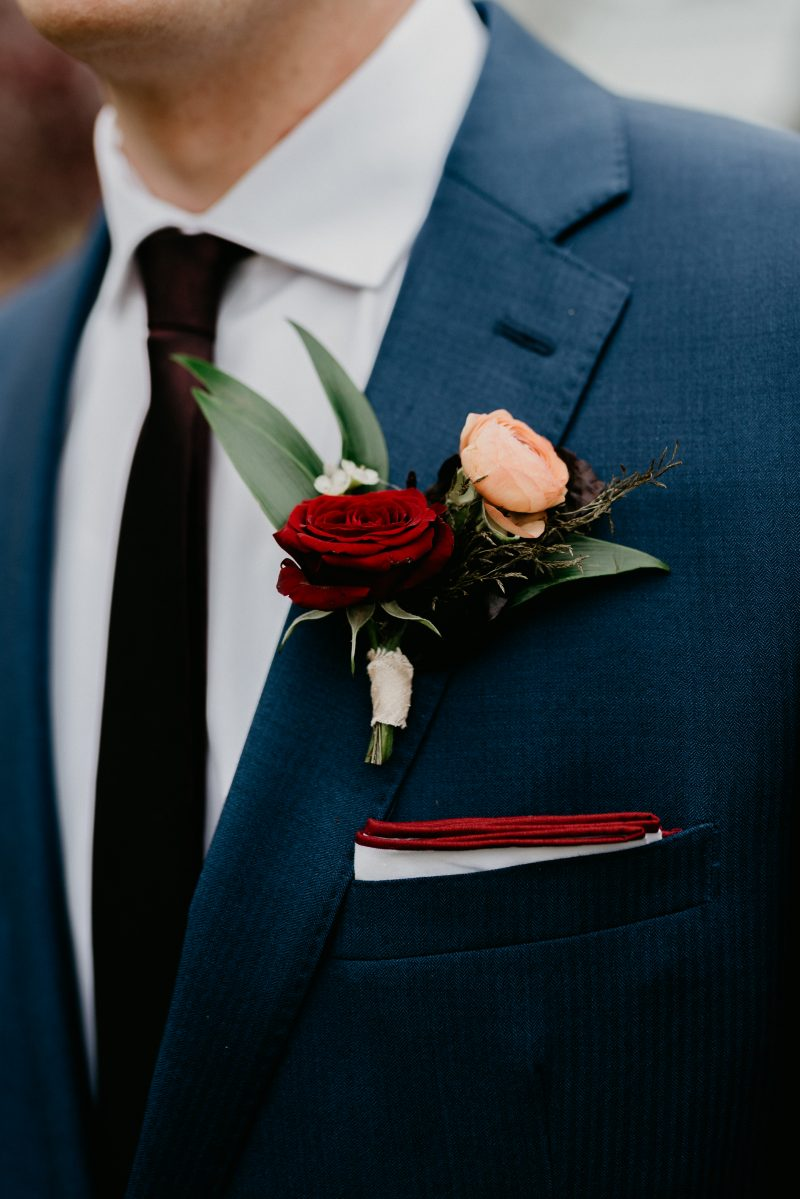 up close photo of a man's boutonniere