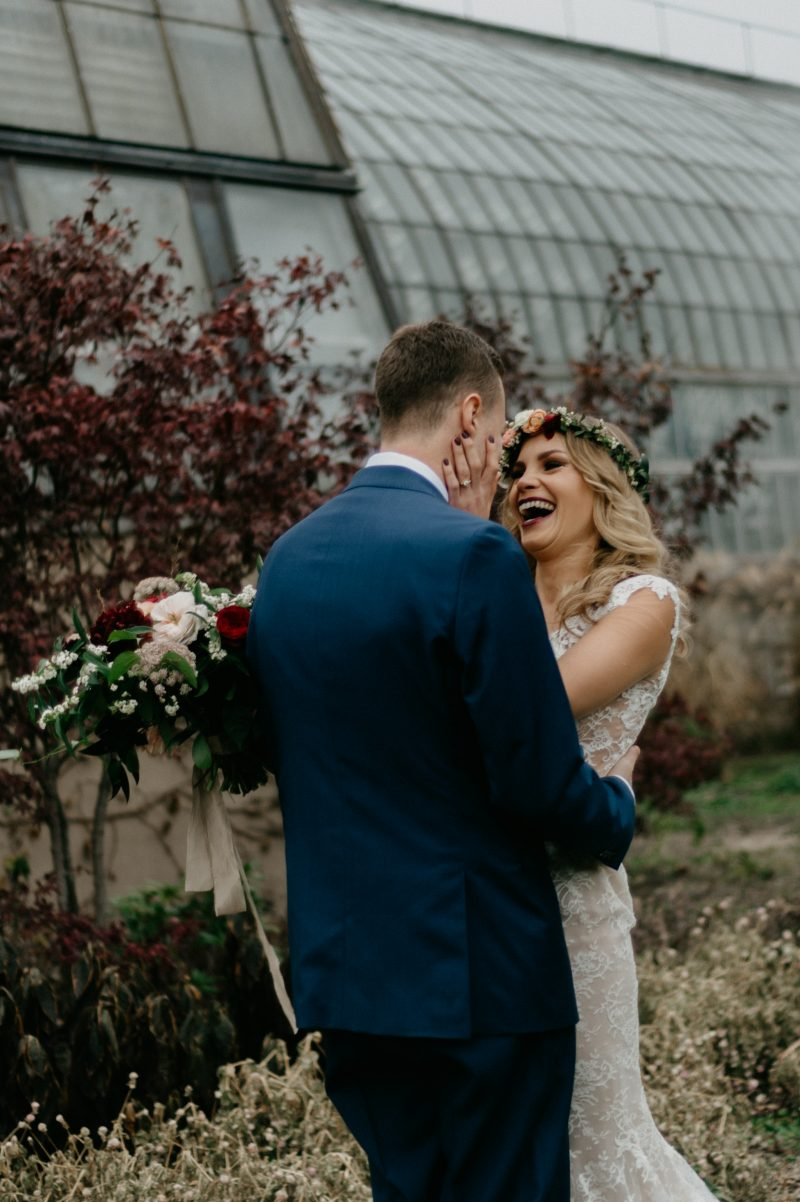 wedding couple laughing