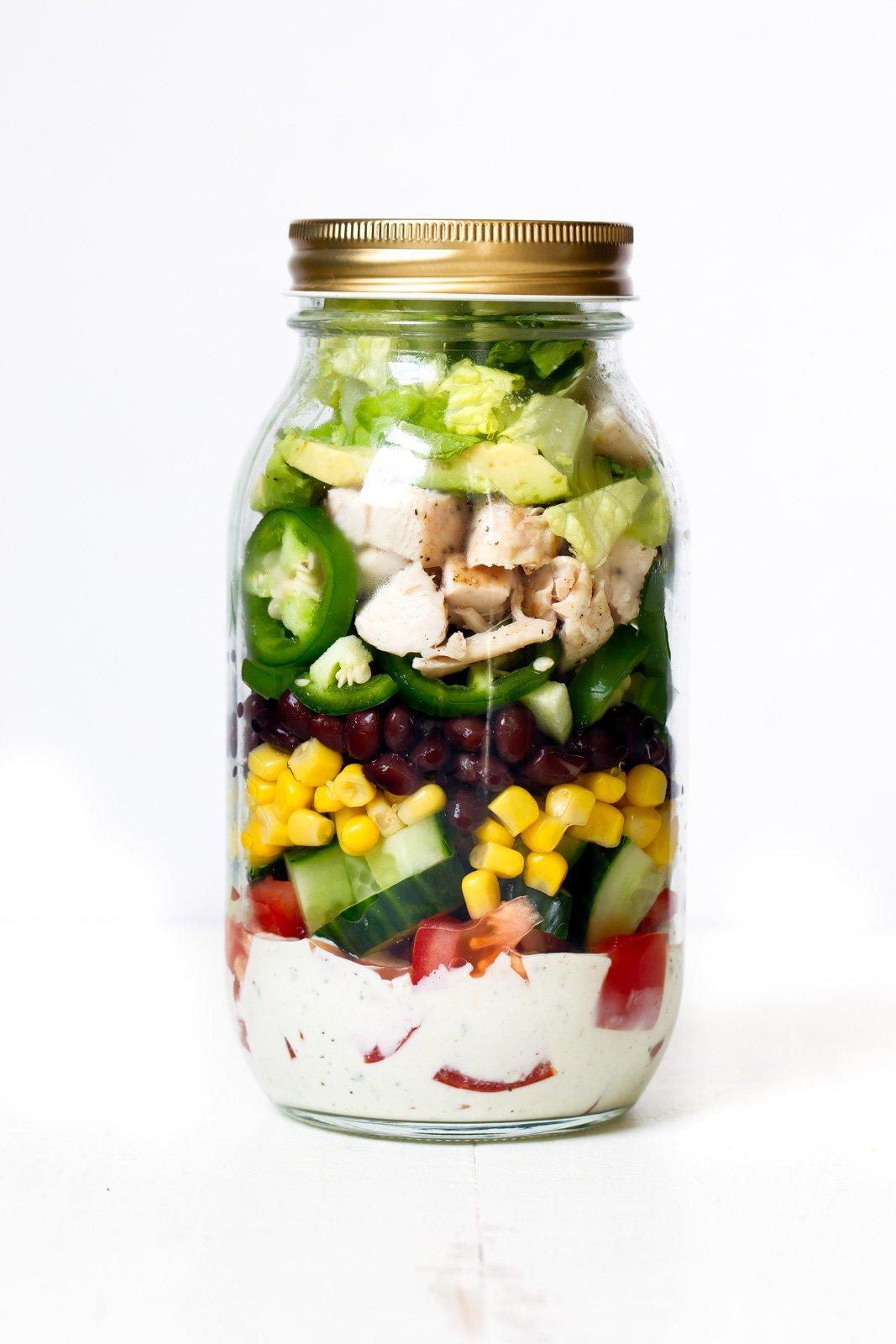 southwest chicken salad with homemade healthy greek yogurt ranch in a mason jar