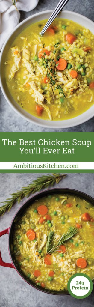 Collage of a bowl of chicken soup and a pot of chicken soup