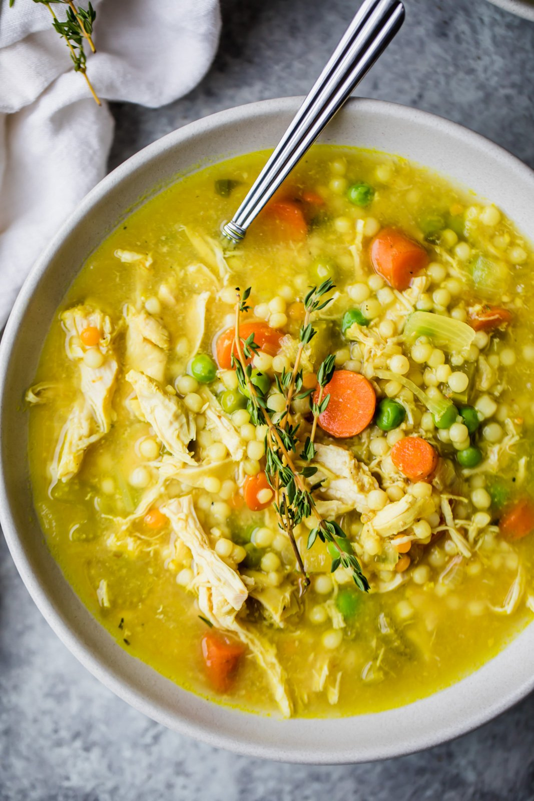 bowl of the best chicken soup with couscous
