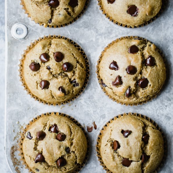 gluten free chocolate chip muffins in a muffin tin