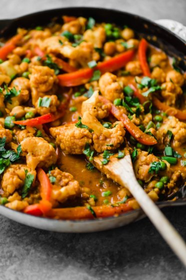 coconut cauliflower chickpea curry in a pan