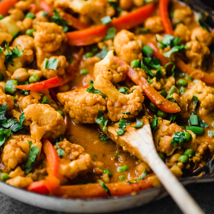 Thai Peanut Coconut Cauliflower Chickpea Curry