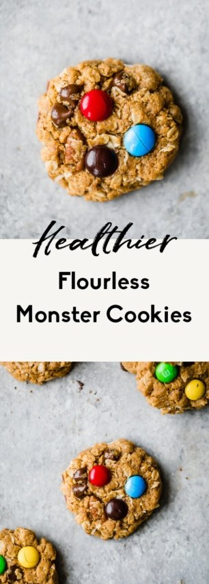 collage of healthy monster cookies