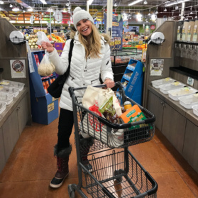 monique with a grocery cart
