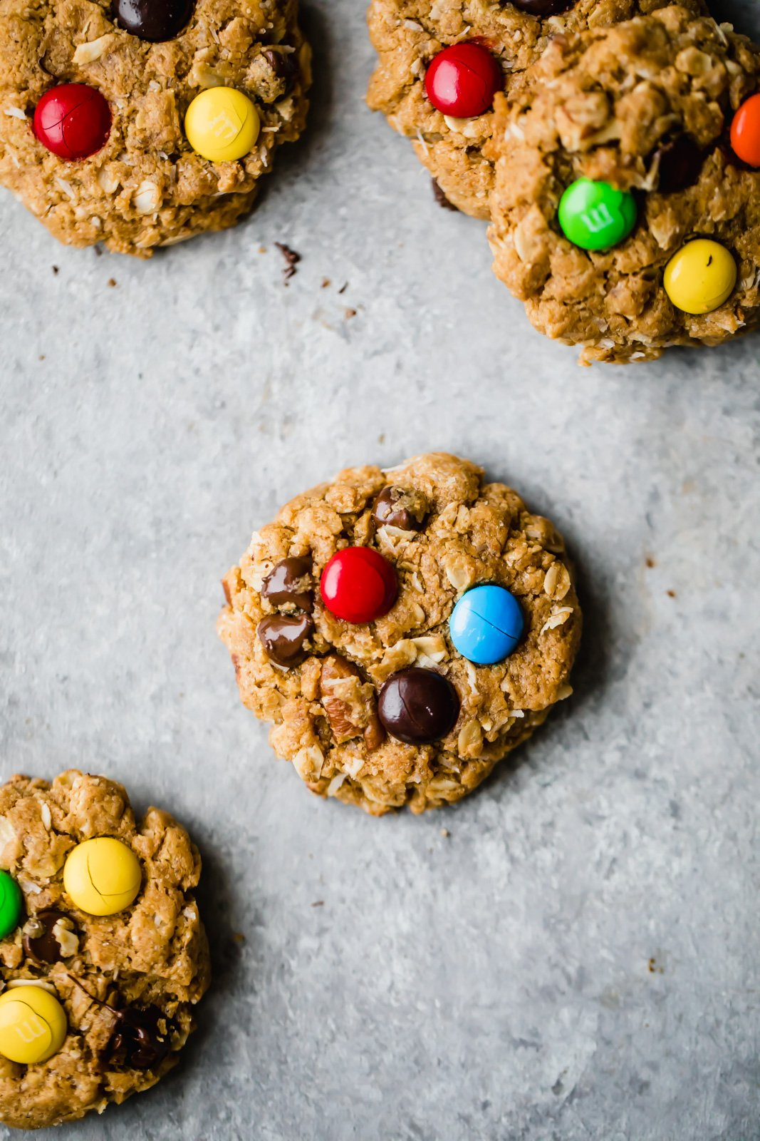 healthy monster cookies with m&m's