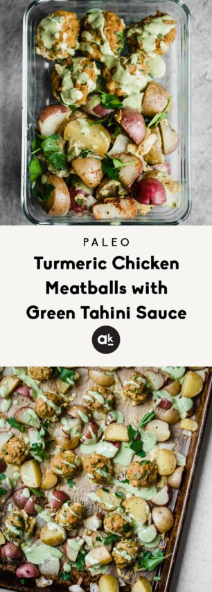 collage of paleo turmeric chicken meatballs