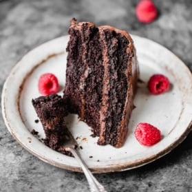 paleo chocolate cake on a plate