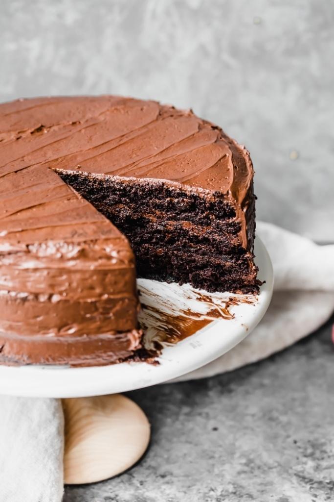 paleo chocolate cake on a cake stand