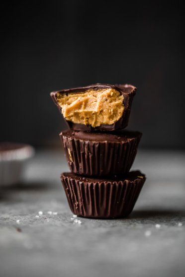 Homemade healthy peanut butter cups in a stack