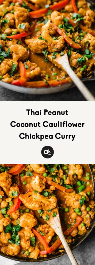collage of cauliflower chickpea curry
