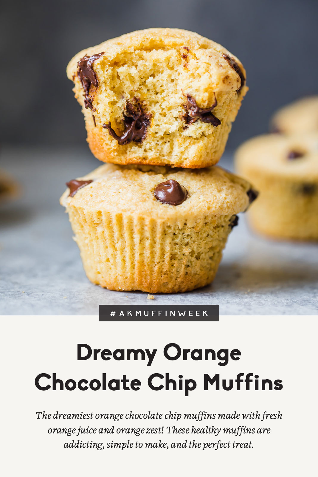 Two orange chocolate chip muffins stacked on top of one another with a title below
