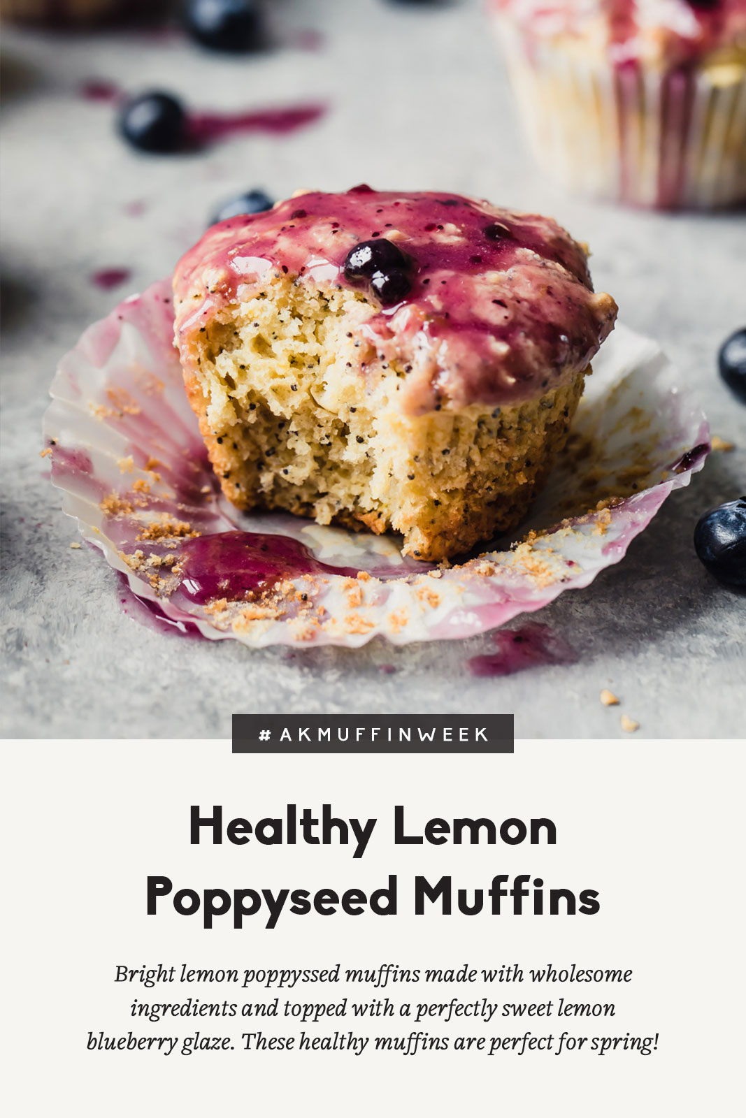 lemon poppyseed muffin with blueberry glaze