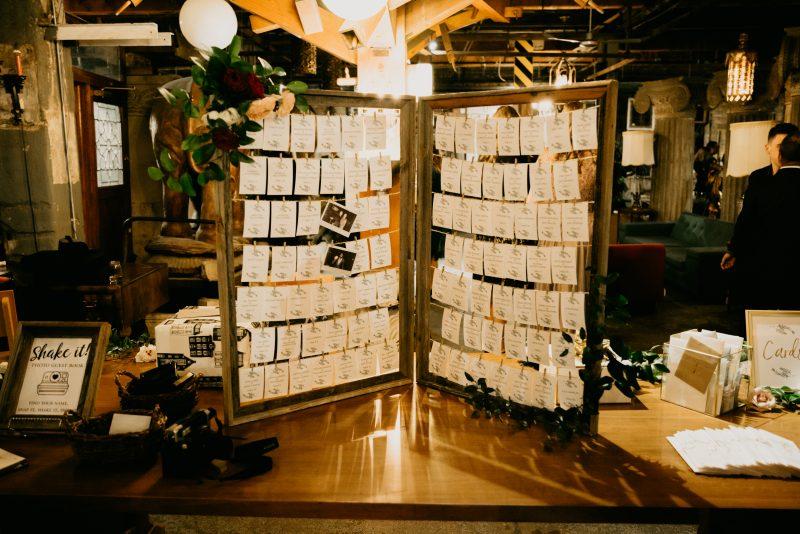 namecards at a wedding
