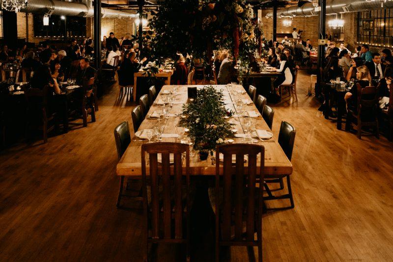 long table at a wedding reception