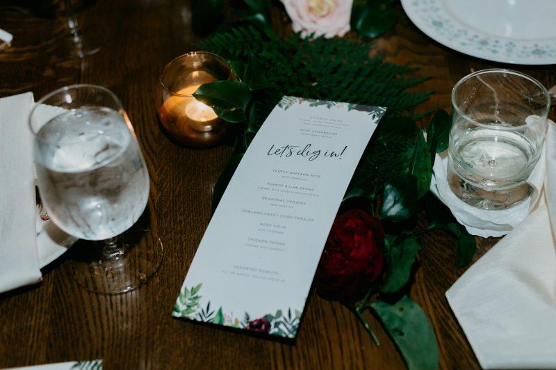 wedding dinner menu on a table
