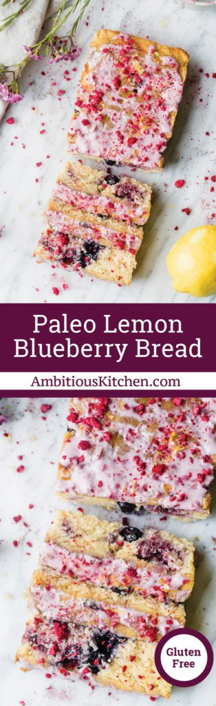 Two loaves of paleo lemon blueberry bread sliced in half on a marble board