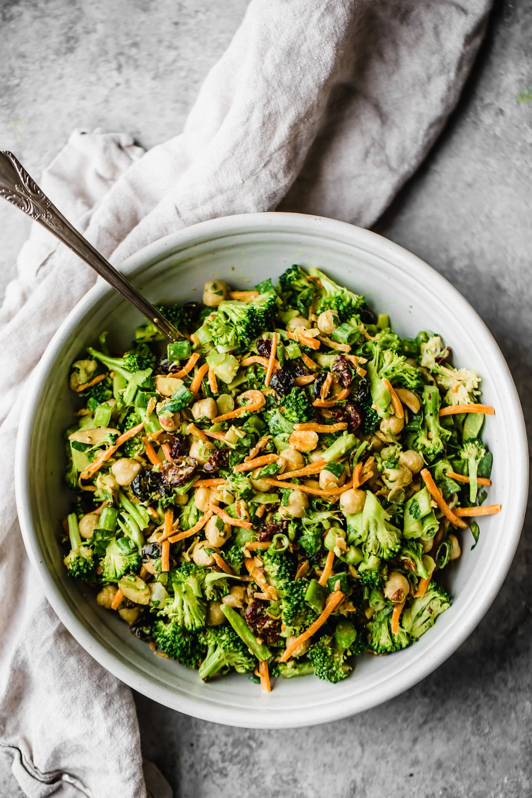 healthy recipes using tahini: broccoli salad with tahini dressing