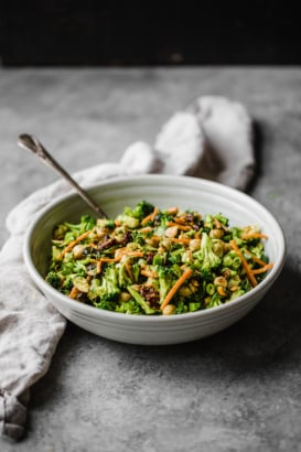 vegan curried broccoli chickpea salad in a bowl