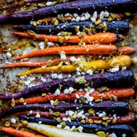 rainbow carrots on a baking sheet