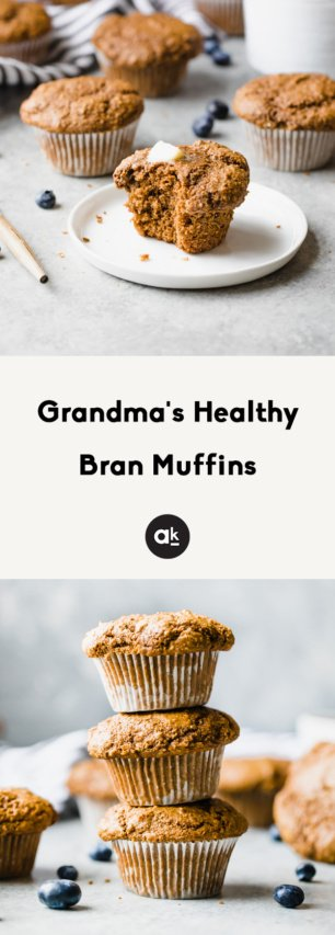collage of healthy bran muffins