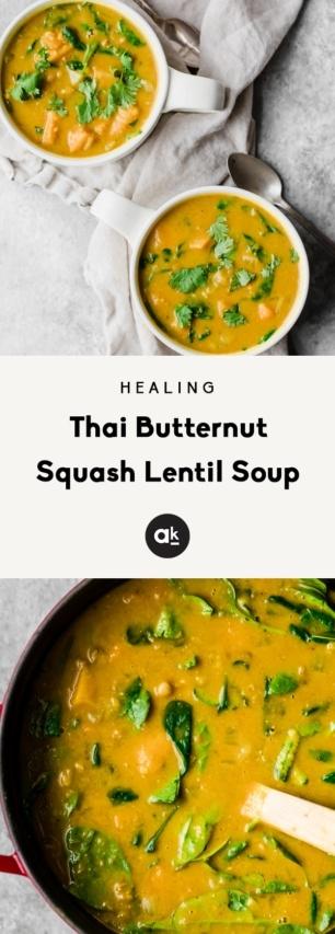 collage of thai butternut squash lentil soup
