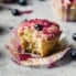 healthy lemon poppyseed muffin with blueberry glaze
