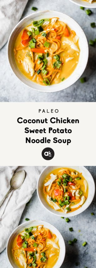 collage of paleo coconut chicken sweet potato noodle soup