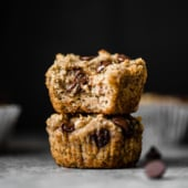 Naturally sweetened vegan paleo banana muffins with gooey chocolate chips in every bite. These gluten and grain free muffins are perfectly moist and taste like your favorite banana bread!
