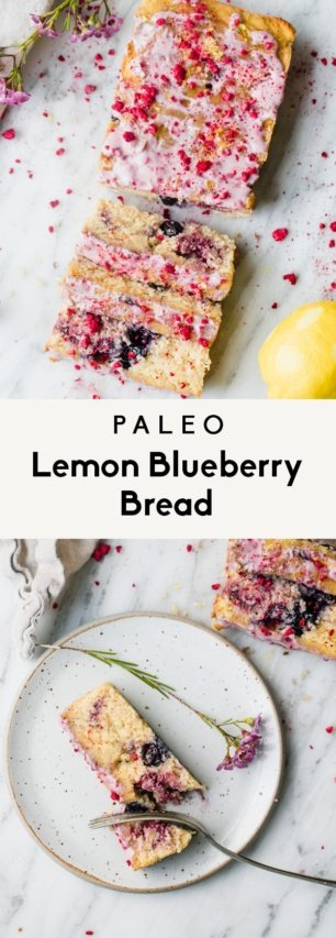collage of paleo lemon blueberry bread