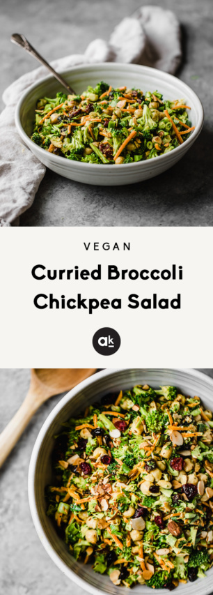 collage of vegan curried broccoli chickpea salad