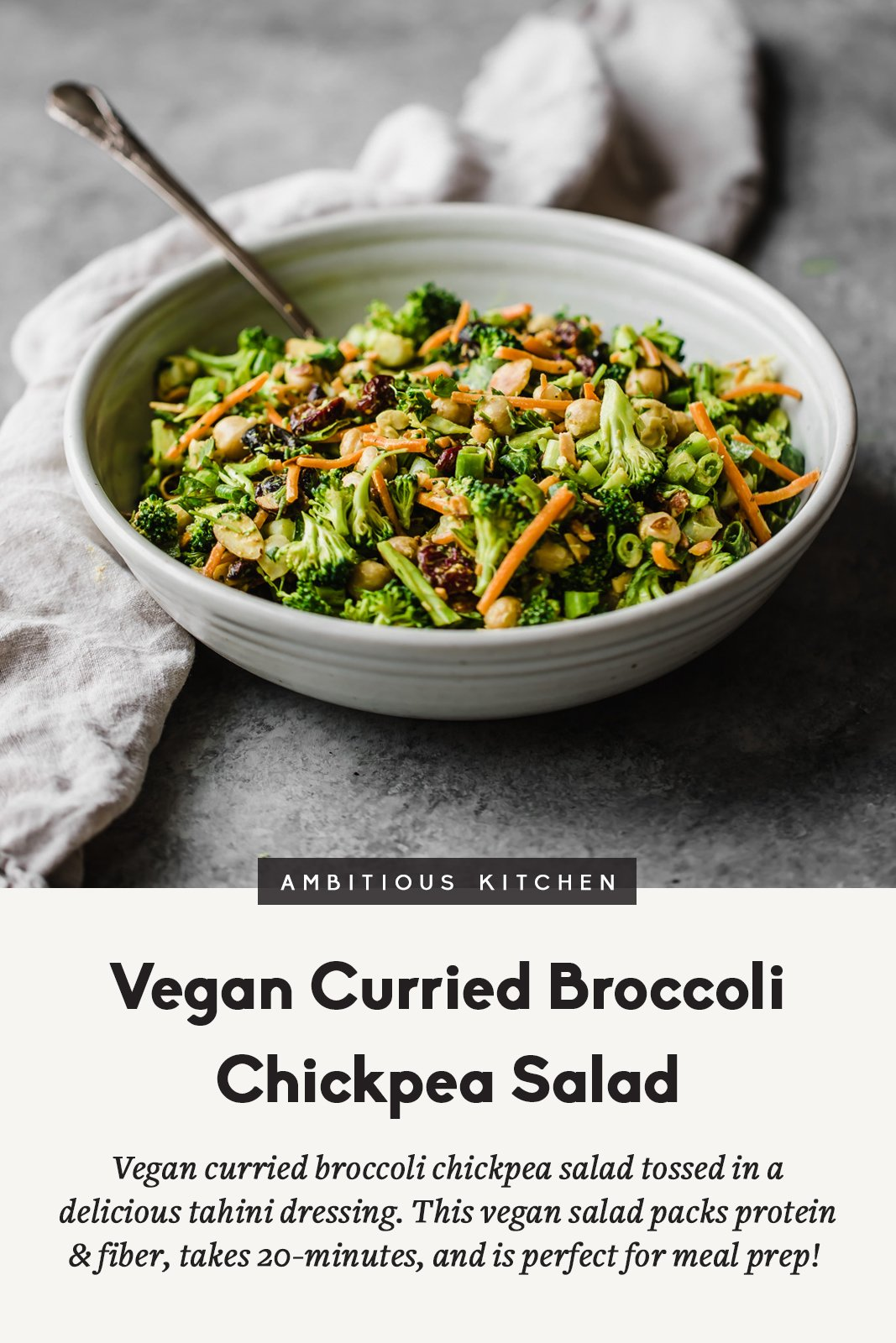broccoli chickpea salad in a bowl with text underneath