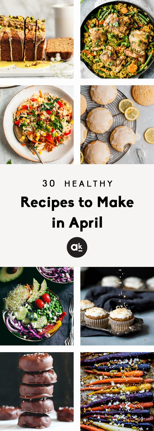 collage of seasonal recipes to make in april