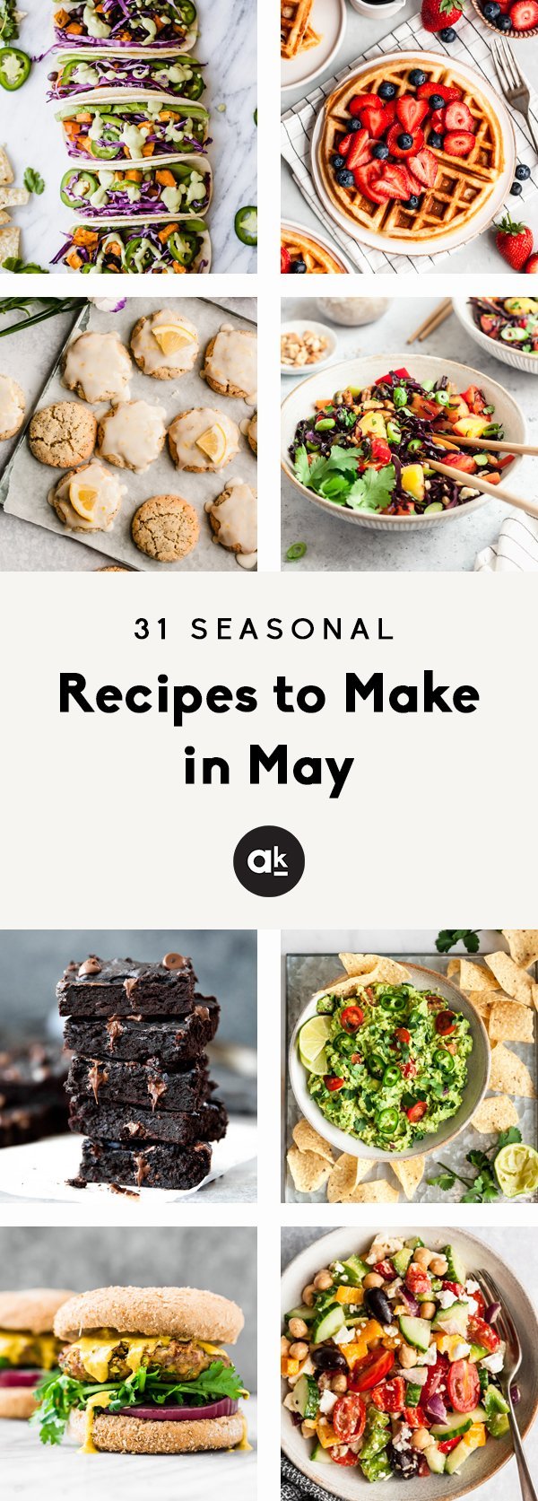 Incredible, seasonal recipes to make in May! These vibrant recipes celebrate spring produce and are just as delicious as they are colorful. From salads and enchiladas to waffles and cakes, these recipes are perfect for any occasion!