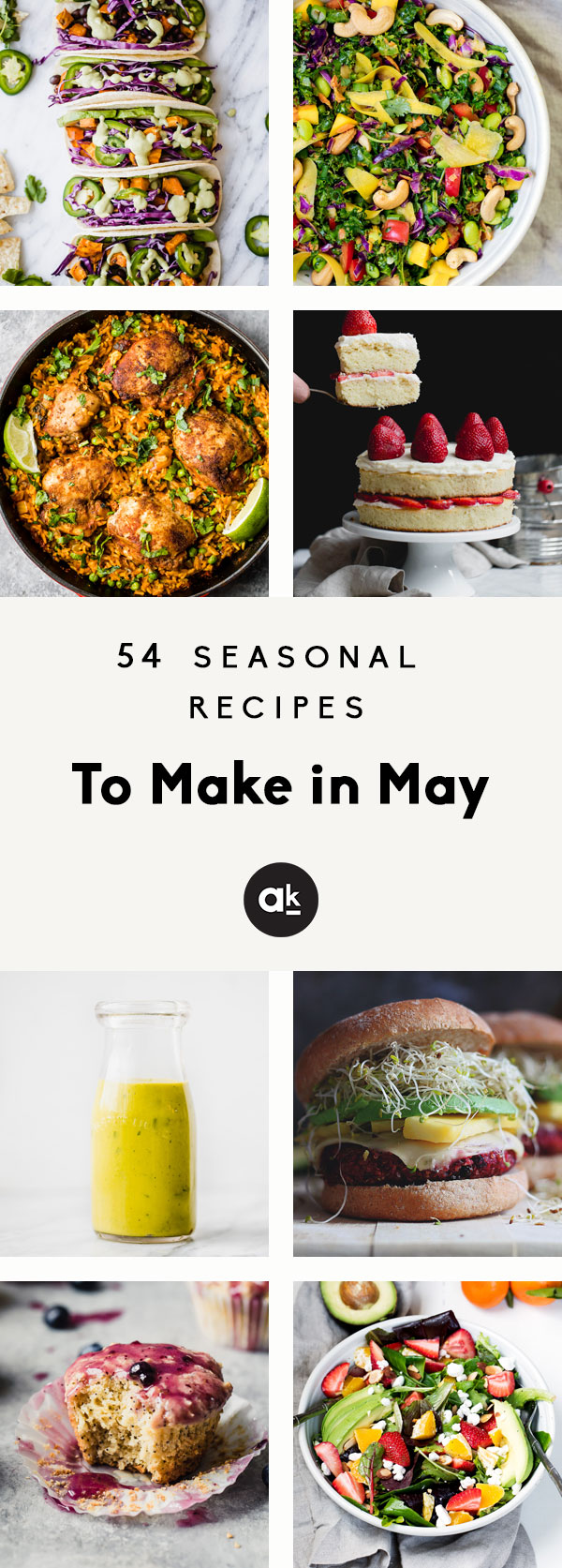 Collage of seasonal recipes to make in May