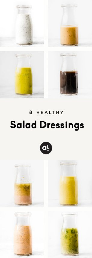 collage of 8 healthy salad dressings