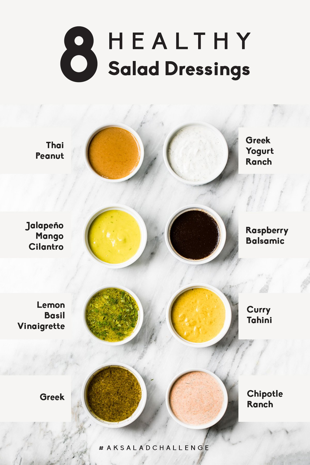 collage of eight healthy salad dressings in small bowls