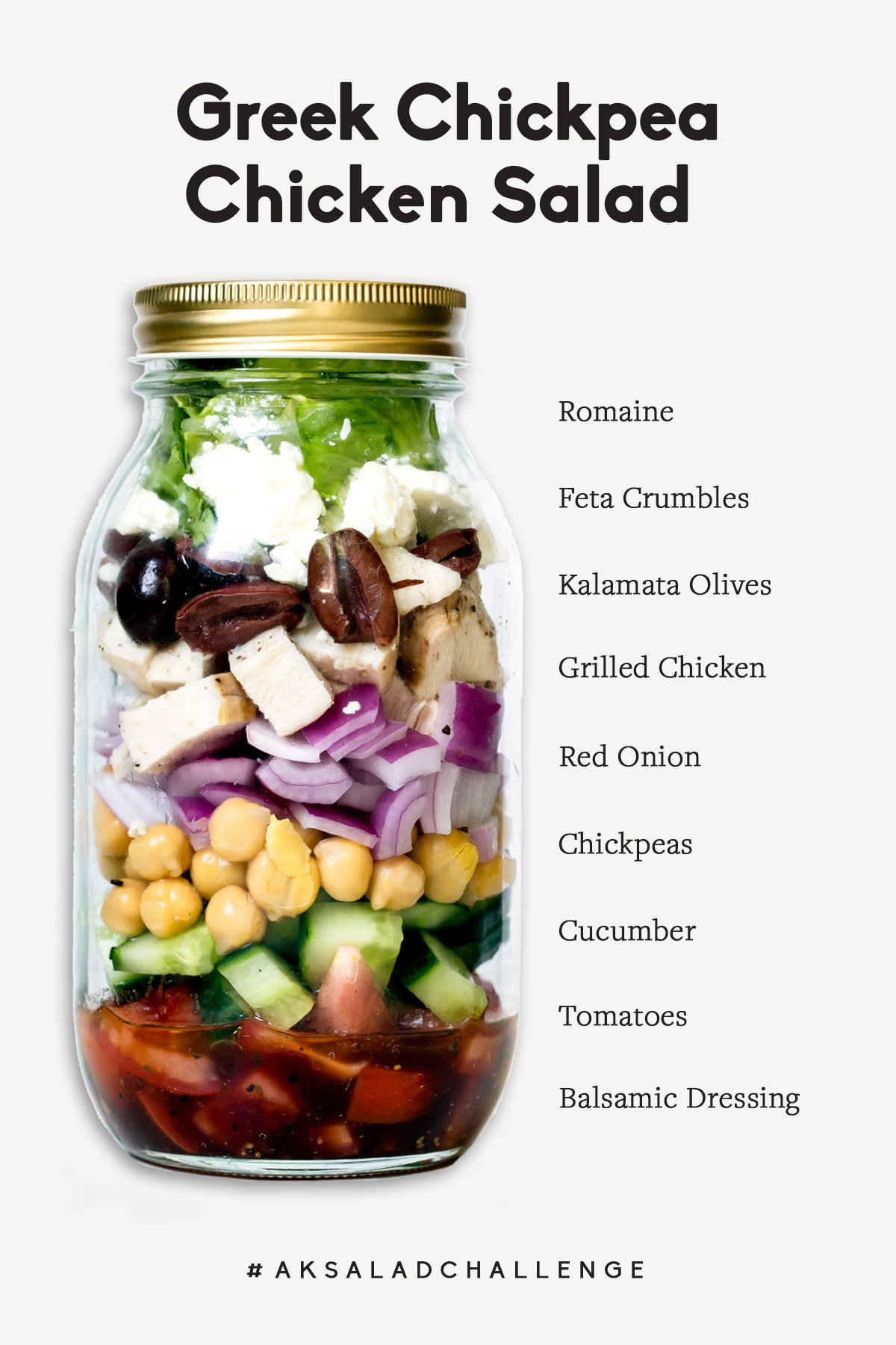 Greek chickpea chicken salad in a mason jar with labels next to each ingredient