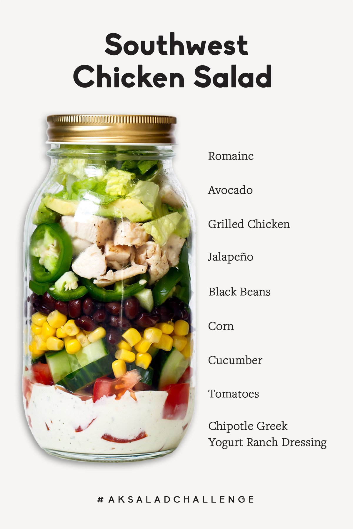 a mason jar salad with labels on the side