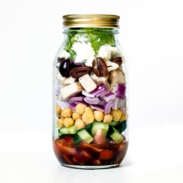 greek chickpea chicken salad in a mason jar