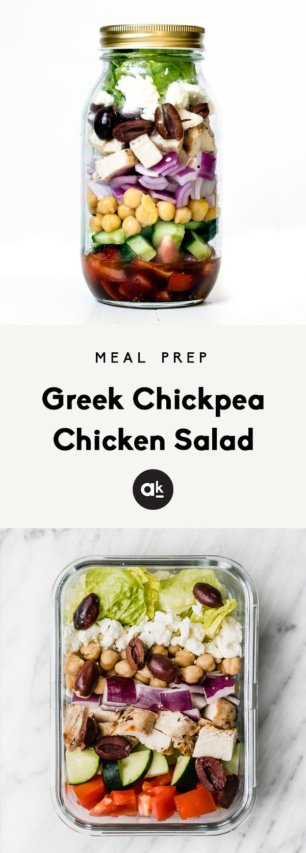 collage of greek chickpea chicken salad