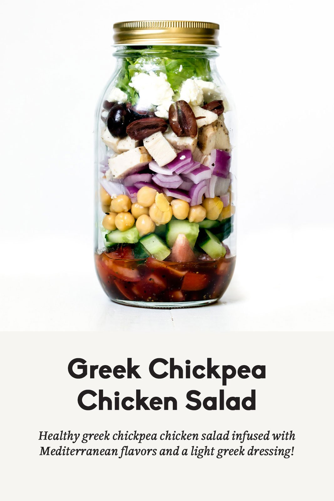 Greek chickpea chicken salad in a mason jar with a title underneath