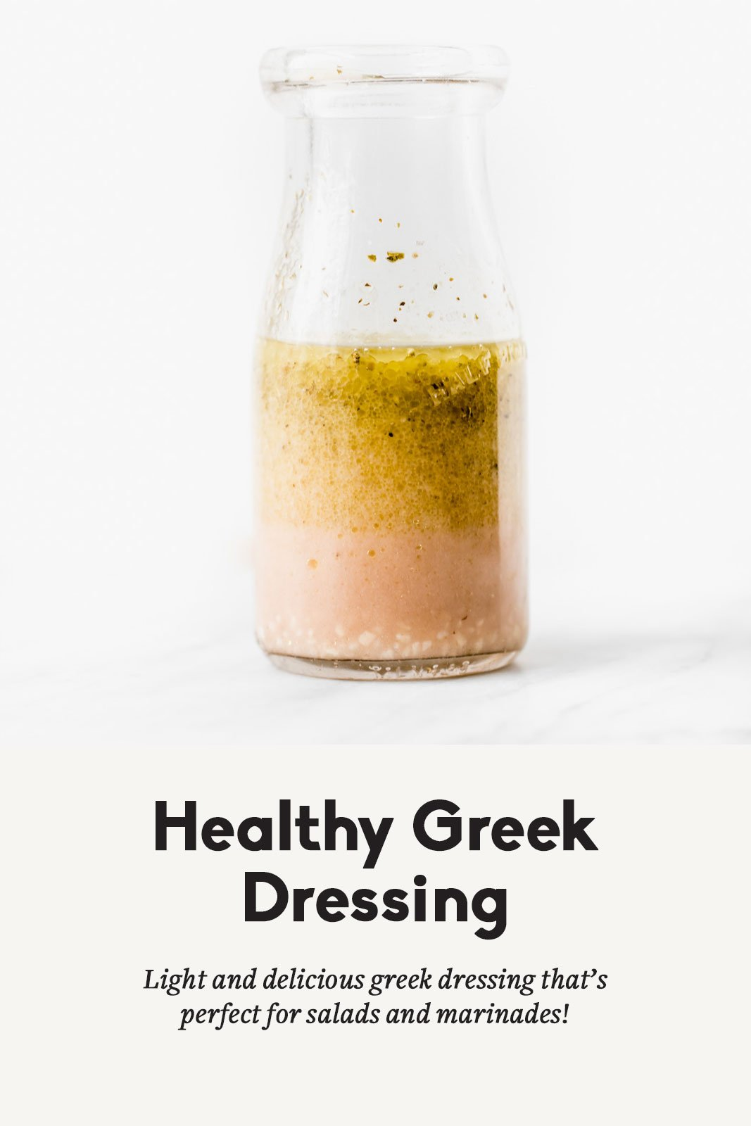 Healthy greek dressing in a clear jar