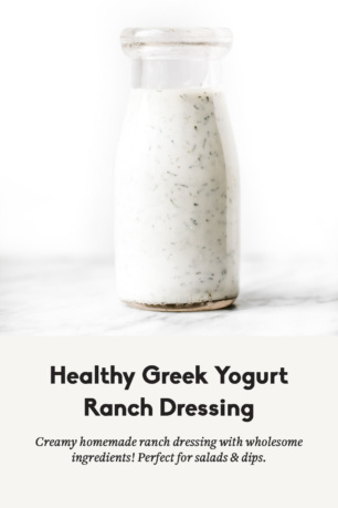 greek yogurt ranch dressing in a bottle with text overlay