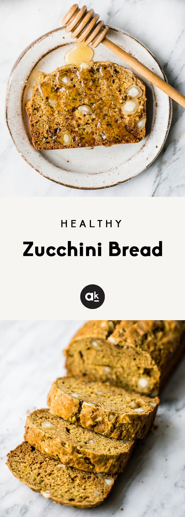 collage of healthy zucchini bread sliced