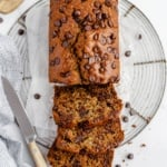 healthy zucchini bread sliced on a wire rack