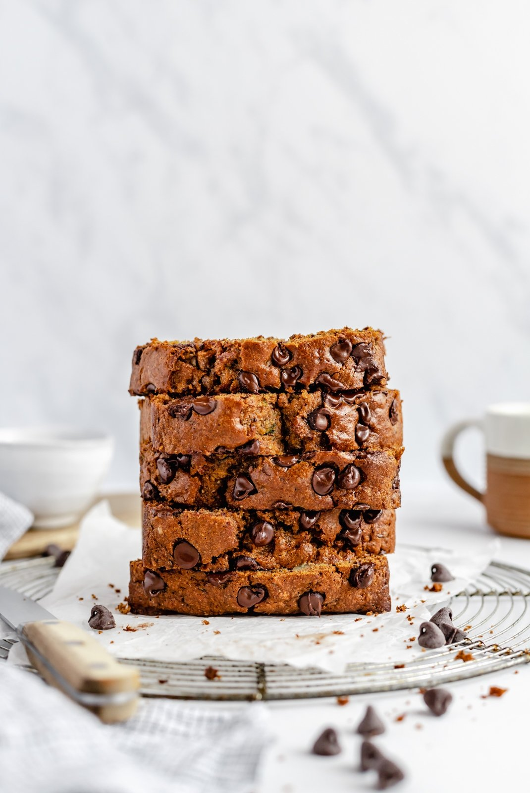 slices healthy zucchini bread with chocolate chips in a stack