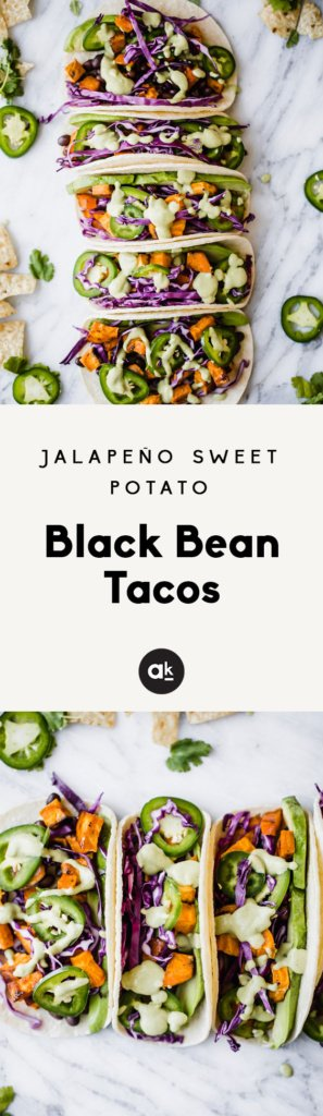Collage of sweet potato black bean tacos