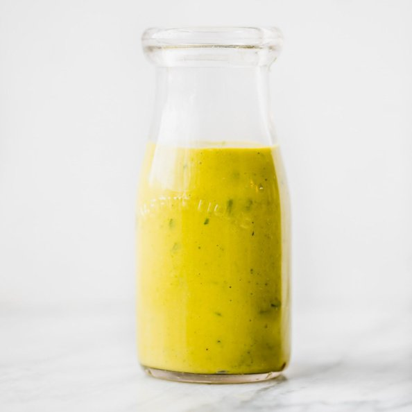 jalapeño mango cilantro dressing in a bottle
